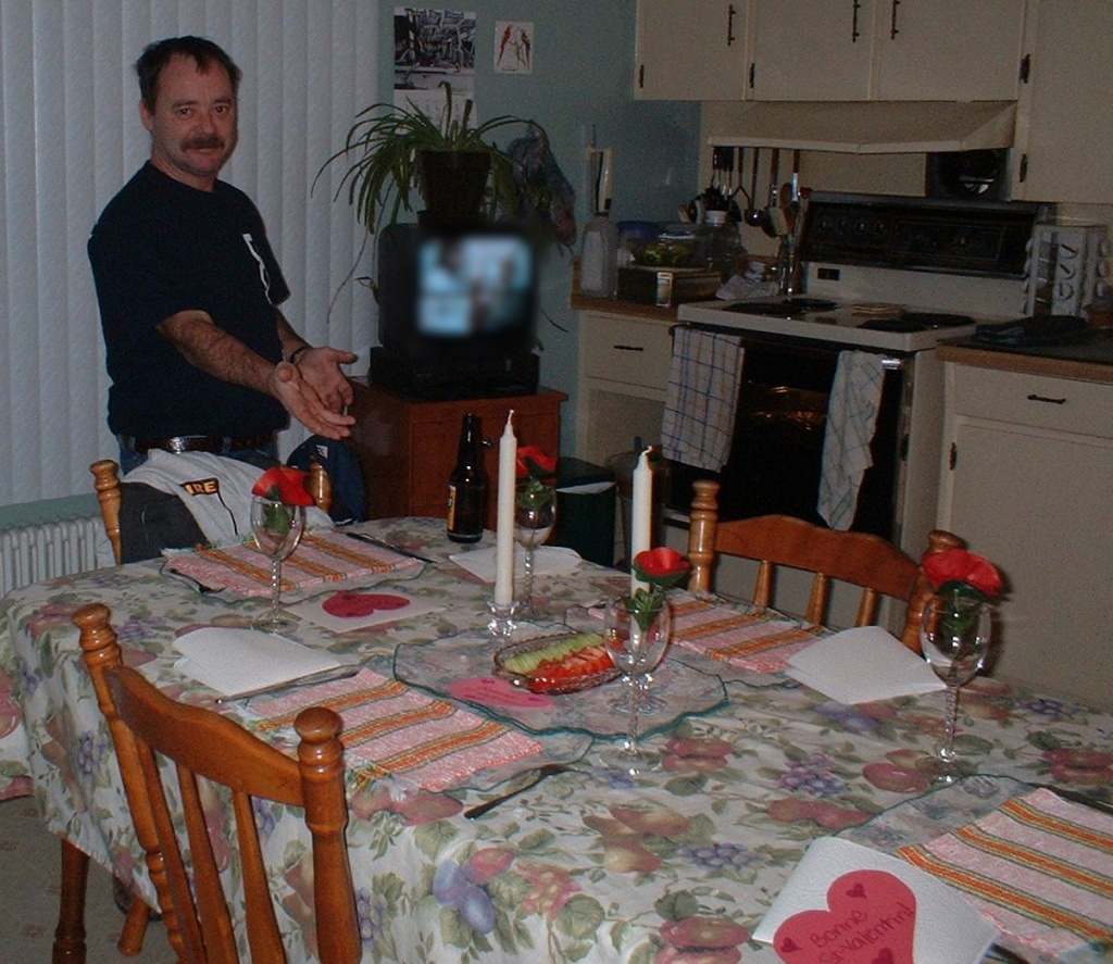 2004: My dad and I were really proud of the dinner we put together: his baked spaghetti and my table-setting.