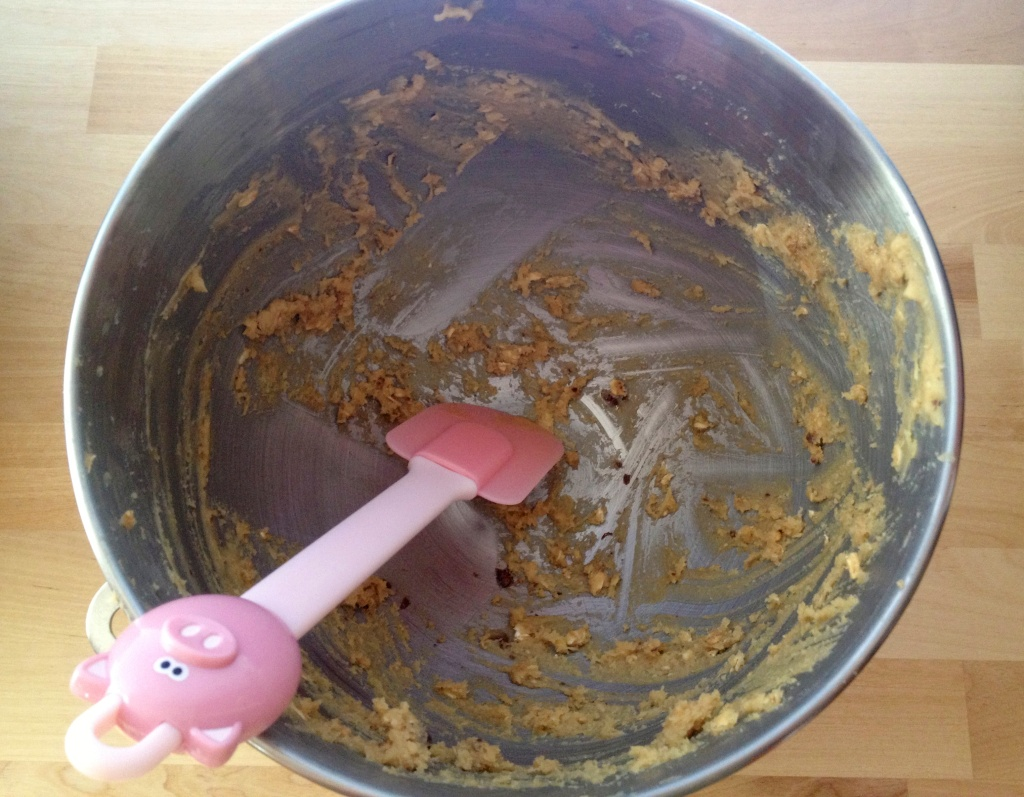 The best part about making cookies...someone needs to clean the bowl...with a spatula.
