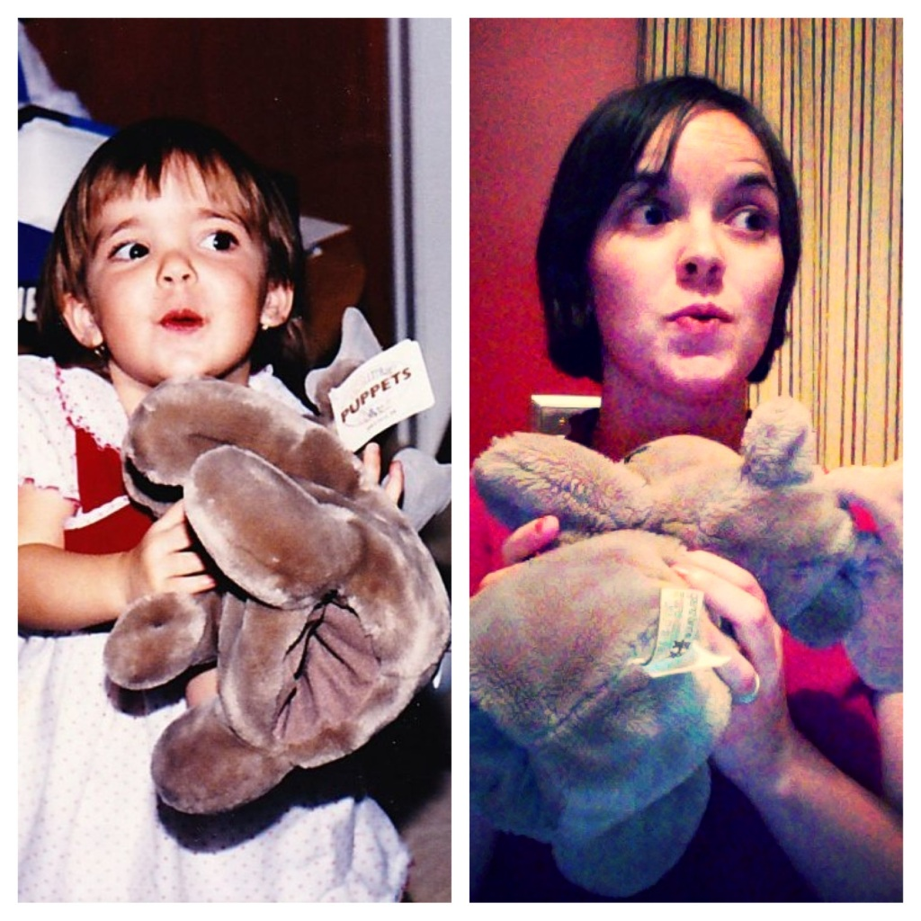 It's cheesy but I had to do it...the picture on the left was taken on my 2nd birthday, when I received my moose puppet. The picture of the right is me, 25 years later, still very happy to have my moose!