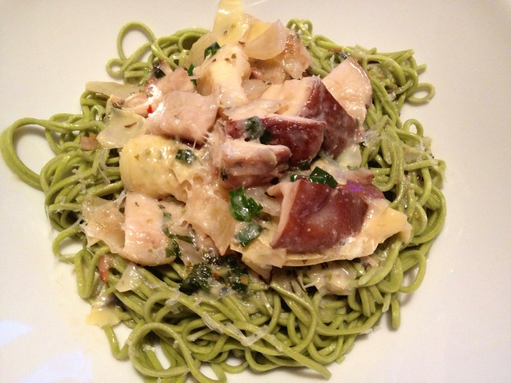 The ragout on locally made spinach pasta.
