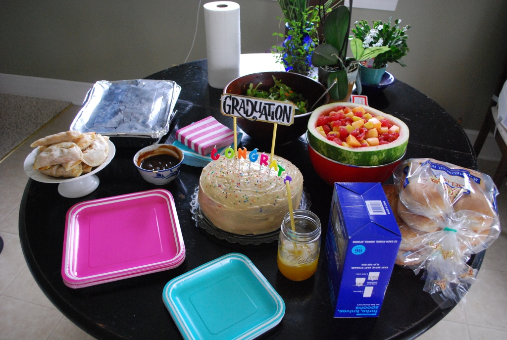 Vari's empanadas, fruit salad and the cake.