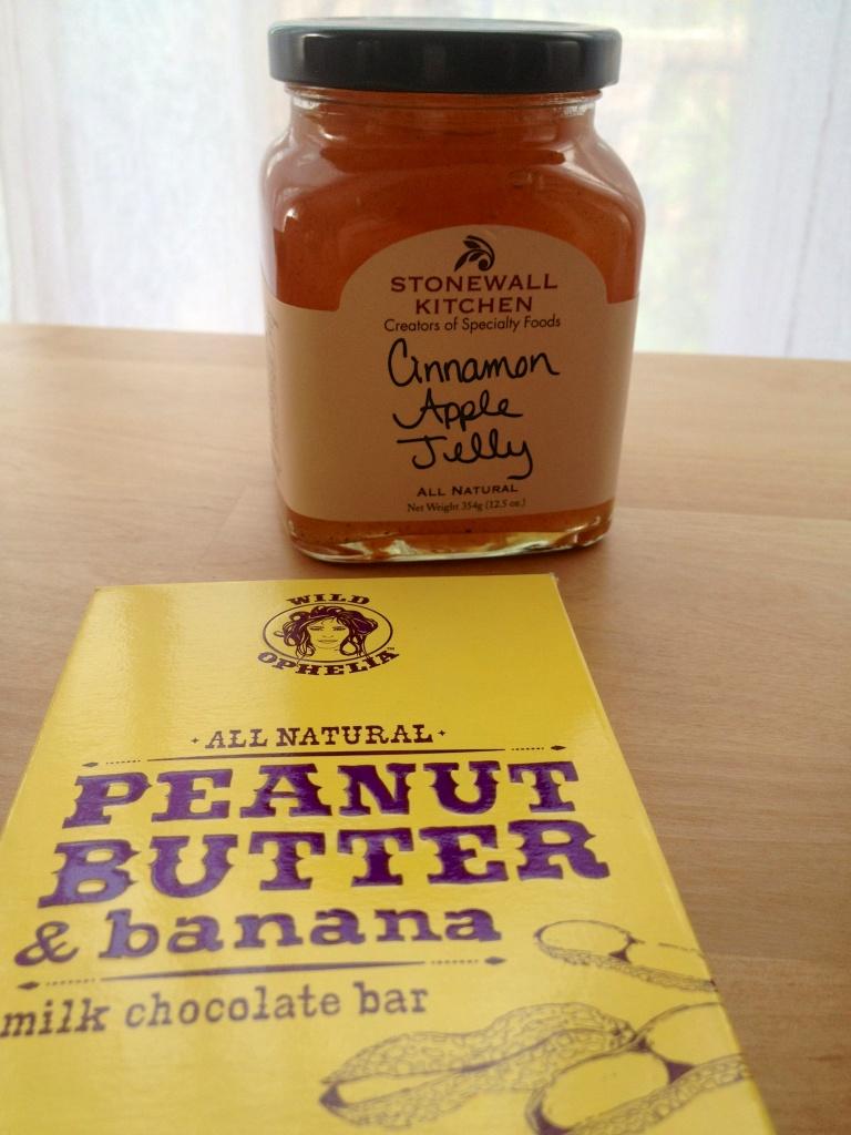 Cinnamon-apple jelly and peanut butter & banana milk chocolate bar.