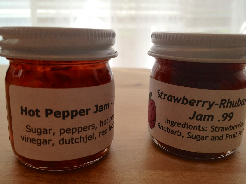 Hot pepper jam & strawberry rhubarb jam