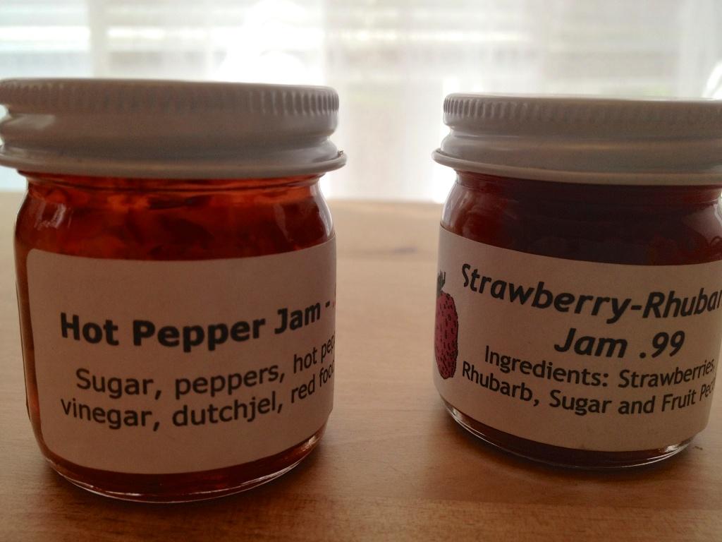 Hot pepper jam & strawberry rhubarb jam