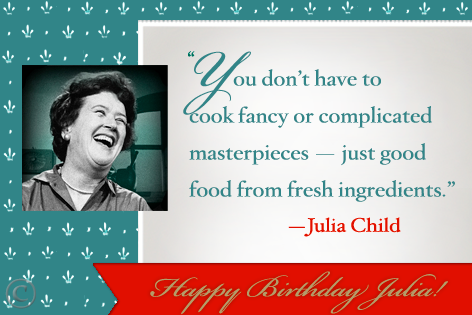 Photo from her Facebook page: https://www.facebook.com/JuliaChild