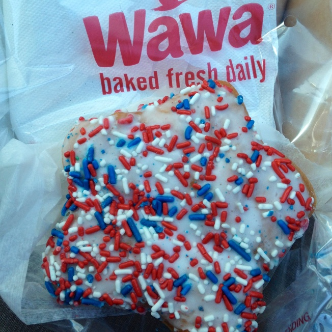 We stopped by Wawa on the way back home. Of course, I had to get a celebratory patriotic donut!