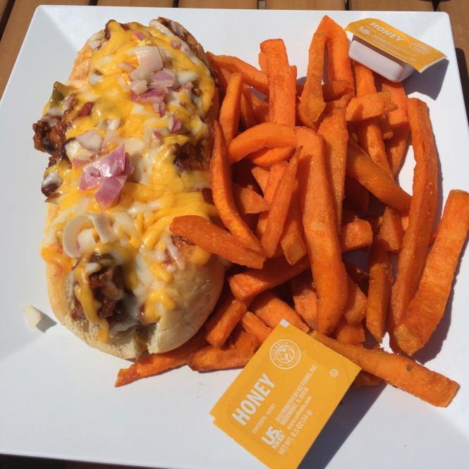 Mega chili dog with sweet potato fries at B&D Burgers