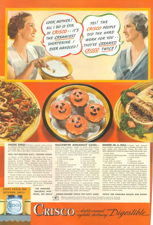 Crisco Halloween themed creamed vegetable shortening ad from 1936.